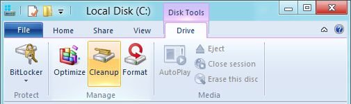 Open the Disk Tools ribbon, then click on Cleanup