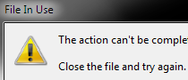 Explorer gives the error 'File In Use'